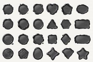 ♥ vector wax seal/wax stamp Gray Set