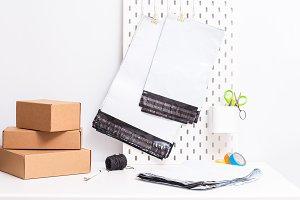 Set of polyethylene bags on office d