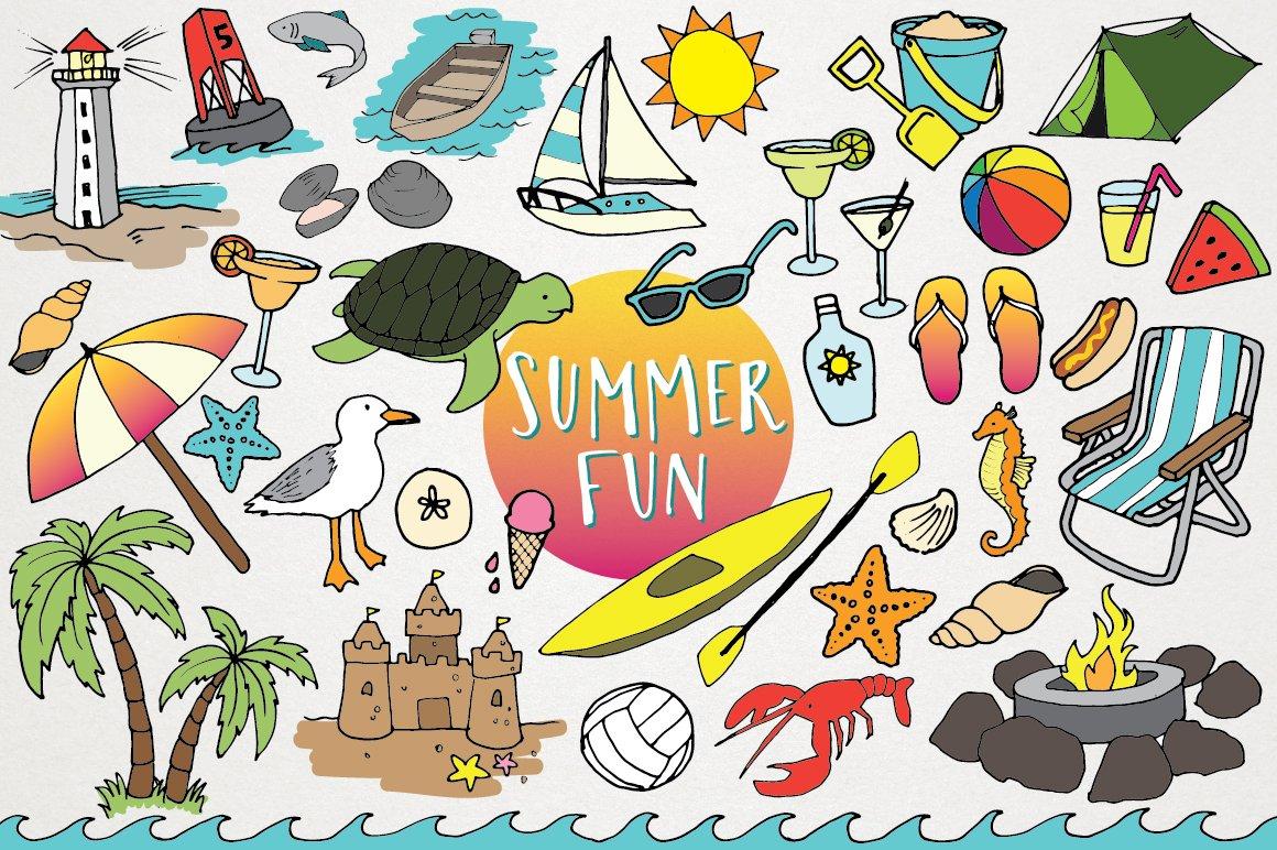 Hand Drawn Beach Summer Clipart