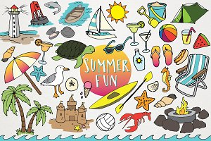 Hand Drawn Beach & Summer Clipart