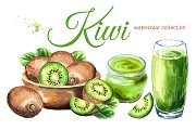 Kiwi. Watercolor collection