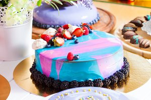 Showcase with modern dessert - cakes