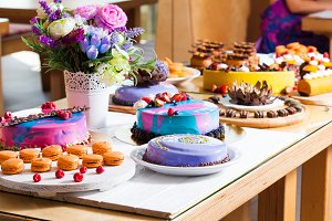 Showcase with modern dessert - cakes