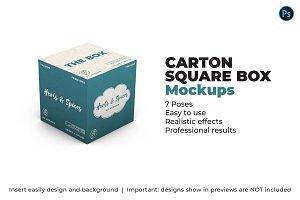 Carton Square Box Mockup