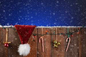 Christmas Fence With Snow