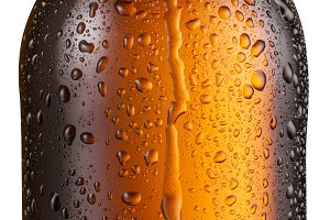 Bottle of cold beer with condensate