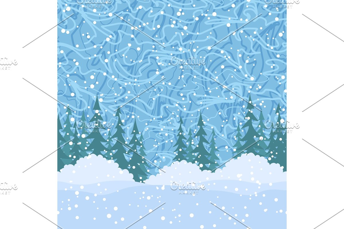 Landscape with Christmas Trees in Illustrations - product preview 8