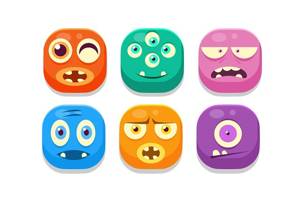 Collection of bright buttons