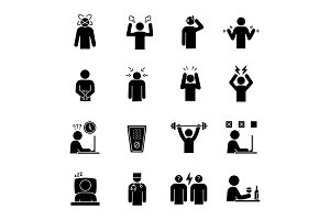 Emotional stress glyph icons set