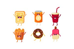 Funny fast food characters set