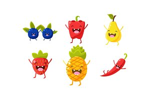 Cute fruit and vegetables