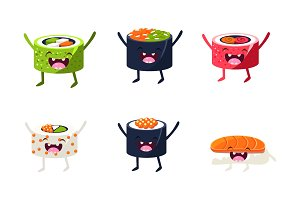Funny sushi characters set, asian