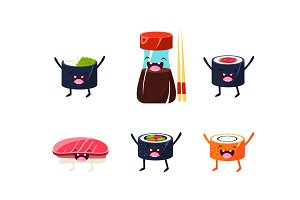 Funny sushi characters set, soy