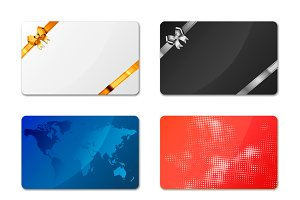 Set of bright different gift cards