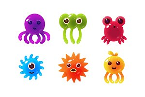 Sea creatures, collection of cute