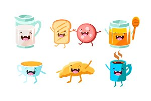 Cute food and drinks characters set