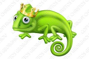Chameleon King Crown Cartoon Lizard
