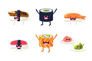 Funny sushi and roll characters set