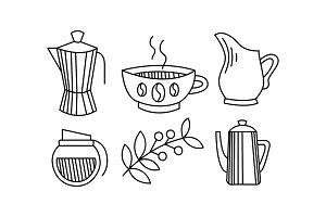 Hand drawn kitchen utensils, coffee