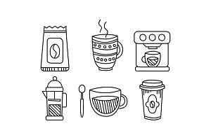 Hand drawn kitchen utensils set