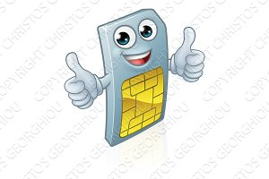 Mobile Phone Sim Card Cartoon Mascot