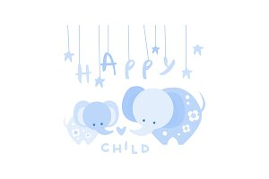 Happy child, cute kids poster with