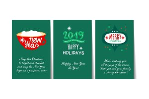 Winter Holidays greeting cards with
