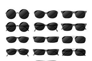 Set of black glossy sunglasses
