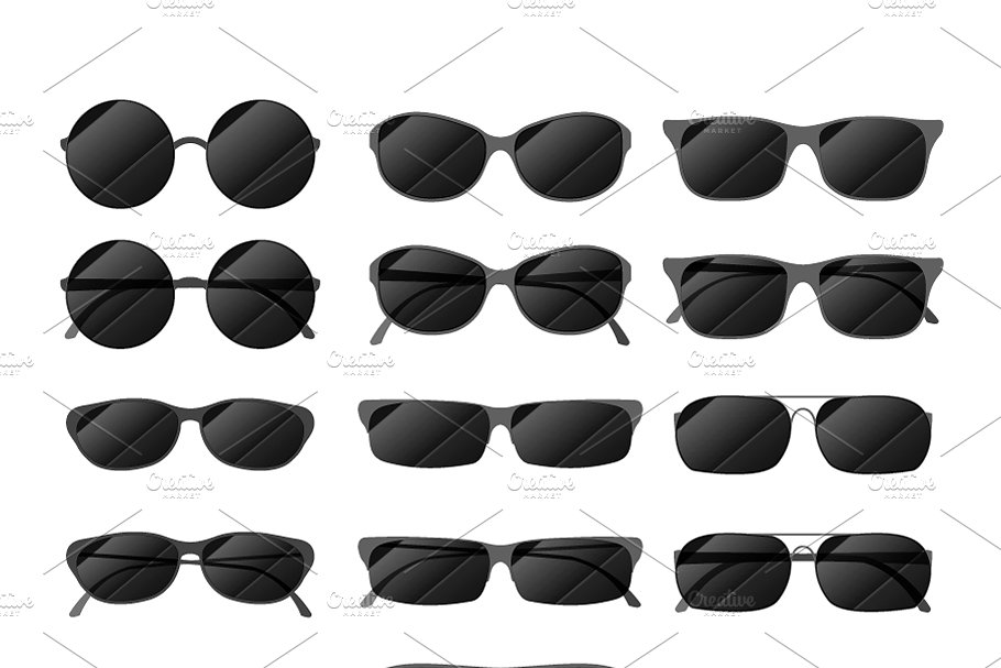 bfd946e4ae7 Set of black glossy sunglasses ~ Graphic Objects ~ Creative Market