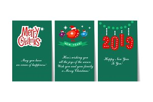 Winter Holidays cards with