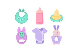 Baby care icons set, baby bib