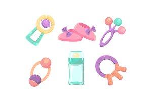 Baby care icons set, nursery