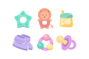 Newborn and baby care icons set