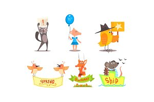 Cute humanized animals set, funny