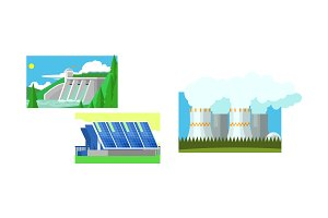 Power station, solar panels, water