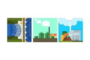 Power plants, clean and polluting
