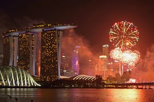 Fireworks of Singapore new year in D