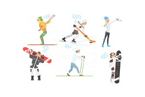 Winter sports activities set