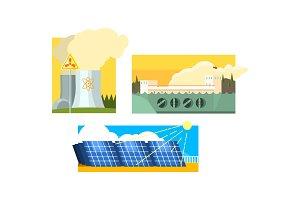 Power station, solar panels
