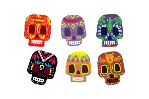 Mexican sugar skulls set, Day of