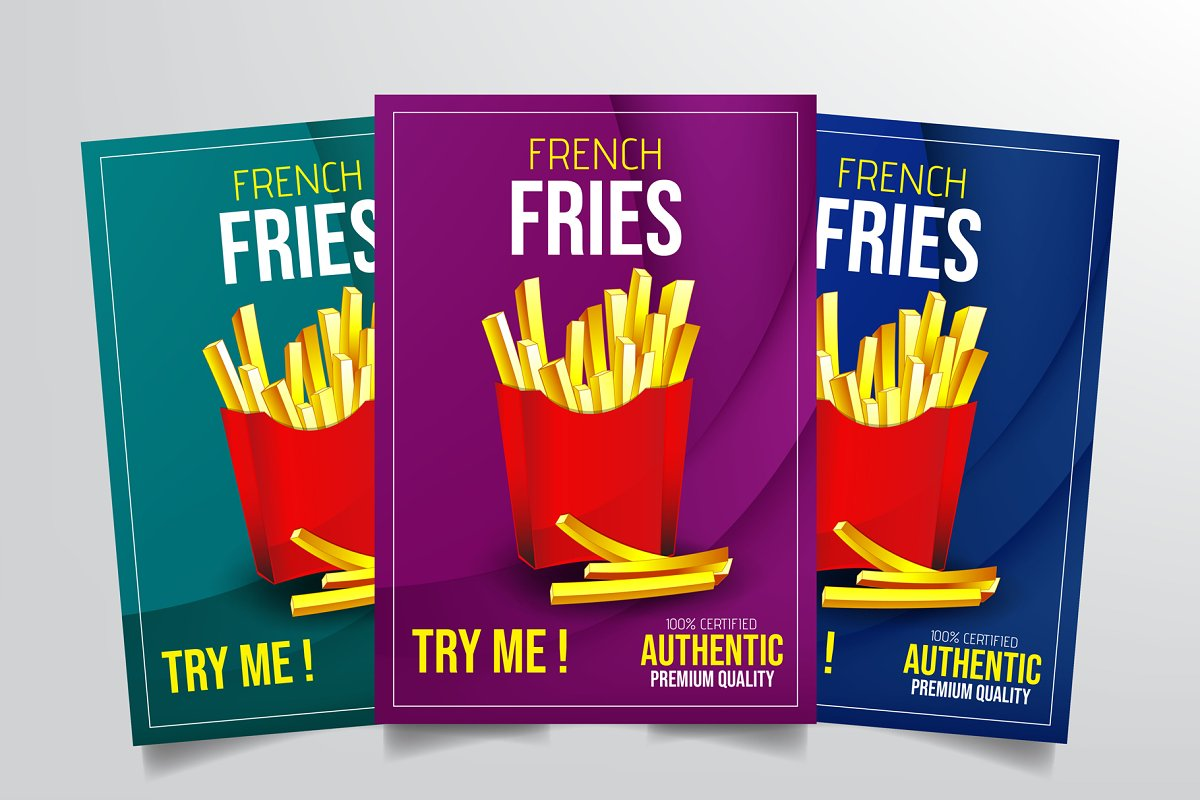 French Fries Flyer Template Flyer Templates Creative Market