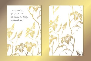 Golden Lily Floral Card Template