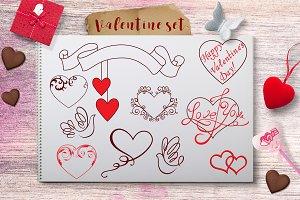 Valentine's Day design elements