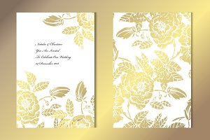 Golden Peony Floral Card Template