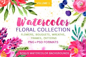 Watercolor floral collection - Vol.1