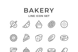 Set line icons of bakery