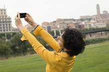 Young woman makes a selfie