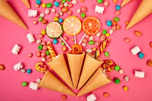 Ice cream waffles cones with