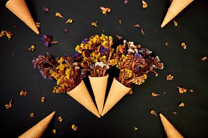Bouquet Flowers in a waffle cone on