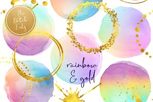 Rainbow Dots & Golden Clipart Set